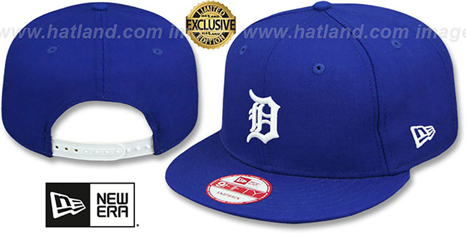 Tigers 'TEAM-BASIC SNAPBACK' Royal-White Hat by New Era : pictured without stickers that these products are shipped with