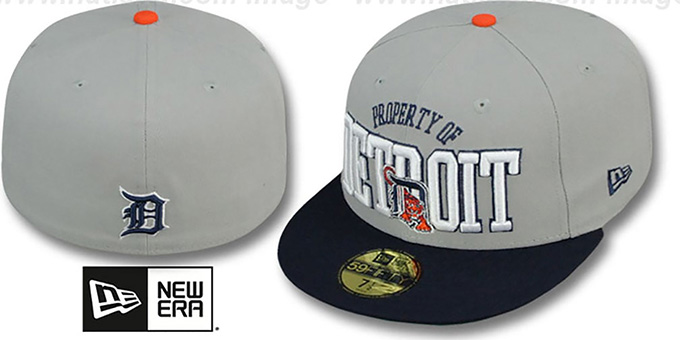 Tigers 'TEAM-PRIDE' Grey-Navy Fitted Hat by New Era : pictured without stickers that these products are shipped with