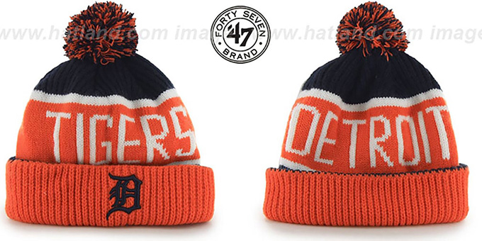 Tigers 'THE-CALGARY' Orange-Navy Knit Beanie Hat by Twins 47 Brand : pictured without stickers that these products are shipped with