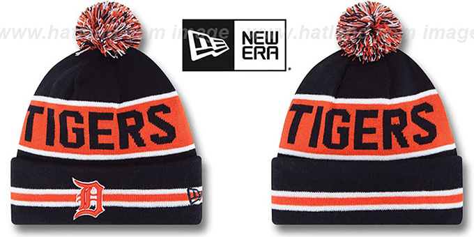 Tigers 'THE-COACH' Navy Knit Beanie Hat by New Era : pictured without stickers that these products are shipped with