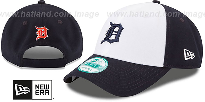 Tigers 'THE-LEAGUE STRAPBACK' White-Navy Hat by New Era : pictured without stickers that these products are shipped with
