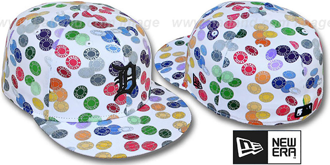 Tigers 'TOKENS' White-Multi Fitted Hat by New Era : pictured without stickers that these products are shipped with