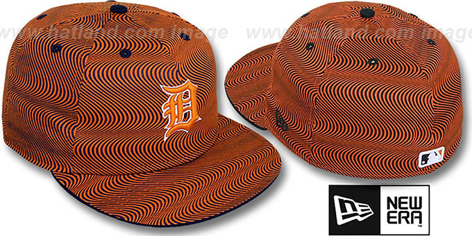 Tigers 'TRIPPIN' Orange-Navy Fitted Hat by New Era : pictured without stickers that these products are shipped with