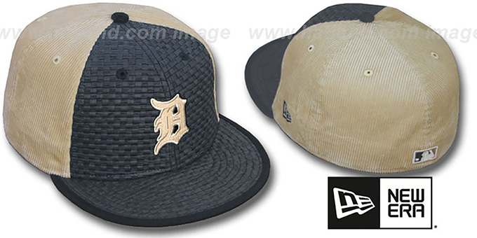 Tigers 'WEAVE-N-CORD' Fitted Hat by New Era - black-tan : pictured without stickers that these products are shipped with