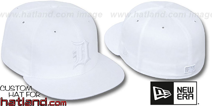 Tigers 'WHITEOUT' Fitted Hat by New Era : pictured without stickers that these products are shipped with