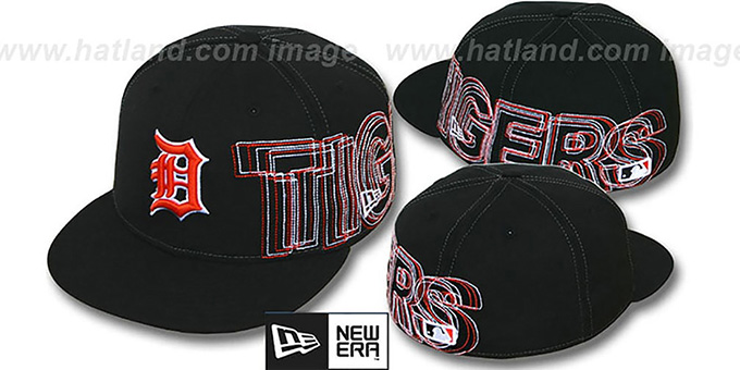 Tigers 'WORD-WRAP' Black Fitted Hat by New Era : pictured without stickers that these products are shipped with