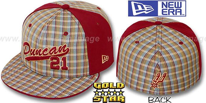 Tim Duncan 'SUPA STAR PLAID' Fitted Hat by New Era : pictured without stickers that these products are shipped with