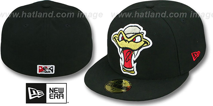 Timber Rattlers 'MIGHTY-XL' Black Fitted Hat by New Era : pictured without stickers that these products are shipped with