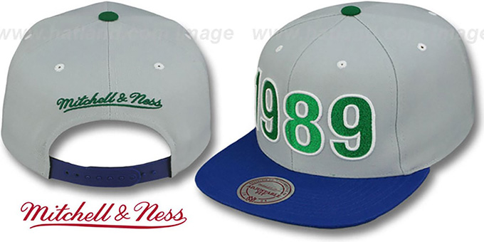 a560b21683156d Timberwolves 1989 INAUGURAL SNAPBACK Grey-Royal Hat by Mitchell & Ness