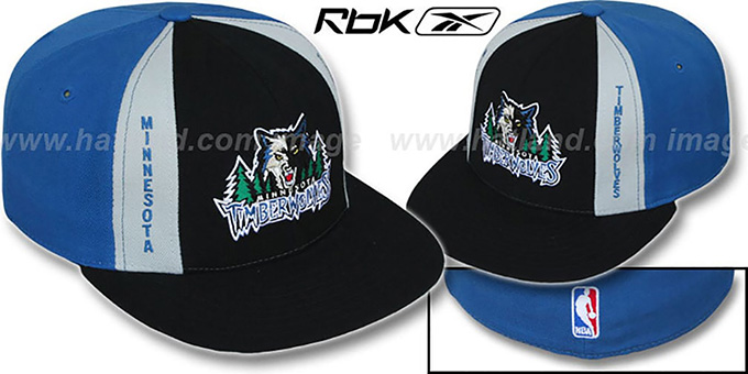Timberwolves 'AJD PINWHEEL' Black-Blue Fitted Hat by Reebok : pictured without stickers that these products are shipped with