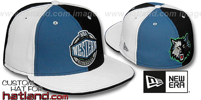 Timberwolves CONFERENCE 'PINWHEEL' Blue-Black-White Fitted Hat : pictured without stickers that these products are shipped with