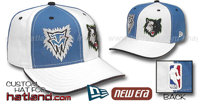 Timberwolves 'DOUBLE WHAMMY' Blue-White Fitted Hat : pictured without stickers that these products are shipped with
