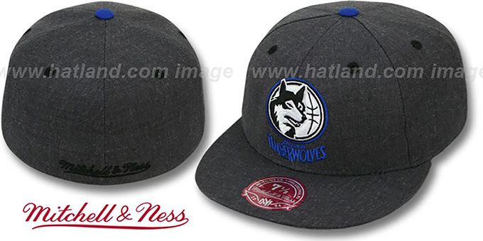 Timberwolves 'GREY HEDGEHOG' Fitted Hat by Mitchell & Ness : pictured without stickers that these products are shipped with
