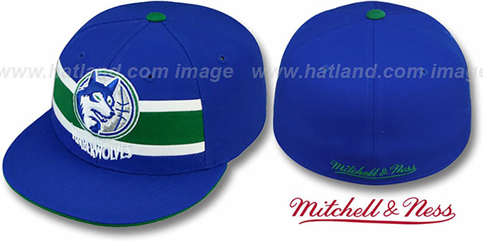 Timberwolves 'HARDWOOD TIMEOUT' Royal Fitted Hat by Mitchell & Ness : pictured without stickers that these products are shipped with