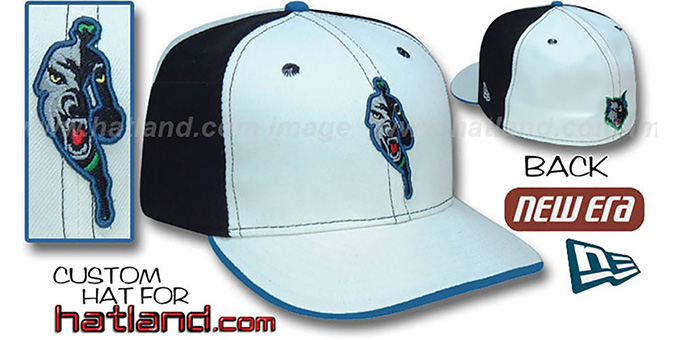 Timberwolves 'INSIDER PINWHEEL' White-Black Fitted Hat : pictured without stickers that these products are shipped with