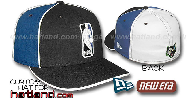 Timberwolves 'LOGOMAN-2' Black-Royal-White Fitted Hat by New Era : pictured without stickers that these products are shipped with