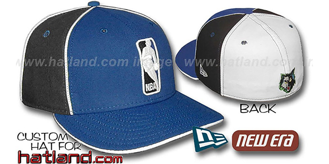 Timberwolves 'LOGOMAN-2' Royal-Black-White Fitted Hat by New Era : pictured without stickers that these products are shipped with