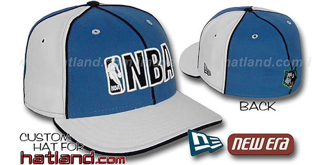 Timberwolves NBA 'PINWHEEL-3' Blue-White Fitted Hat by New Era : pictured without stickers that these products are shipped with