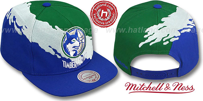 Timberwolves 'PAINTBRUSH SNAPBACK' Green-White-Royal Hat by Mitchell & Ness : pictured without stickers that these products are shipped with
