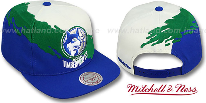 Timberwolves 'PAINTBRUSH SNAPBACK' White-Green-Royal Hat by Mitchell & Ness : pictured without stickers that these products are shipped with