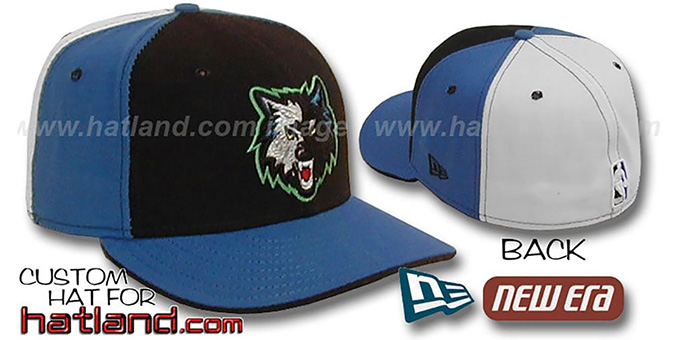 Timberwolves 'PINWHEEL' Black-Blue-White Fitted Hat : pictured without stickers that these products are shipped with