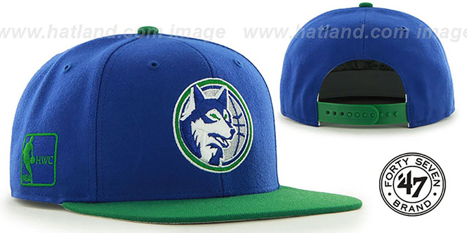 Timberwolves 'SURE-SHOT SNAPBACK' Royal-Green Hat by Twins 47 Brand : pictured without stickers that these products are shipped with