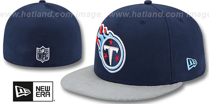 Titans '2014 NFL DRAFT' Navy Fitted Hat by New Era : pictured without stickers that these products are shipped with
