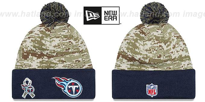 Titans '2015 SALUTE-TO-SERVICE' Knit Beanie Hat by New Era : pictured without stickers that these products are shipped with