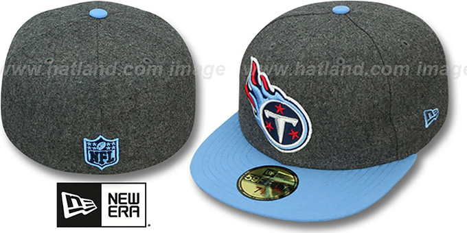 Titans '2T NFL MELTON-BASIC' Grey-Sky Fitted Hat by New Era : pictured without stickers that these products are shipped with