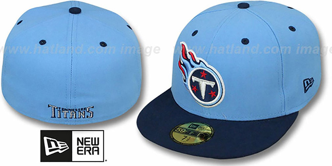 Titans 'NFL 2T-TEAM-BASIC' Sky-Navy Fitted Hat by New Era : pictured without stickers that these products are shipped with