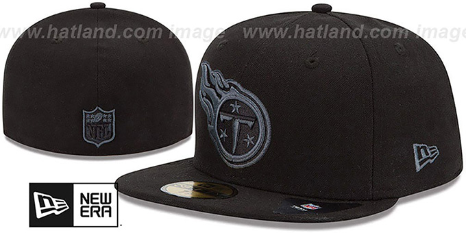 Titans 'NFL FADEOUT-BASIC' Black Fitted Hat by New Era : pictured without stickers that these products are shipped with