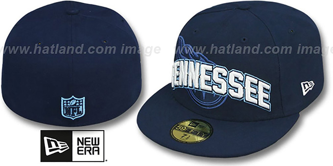 Titans 'NFL ONFIELD DRAFT' Navy Fitted Hat by New Era : pictured without stickers that these products are shipped with