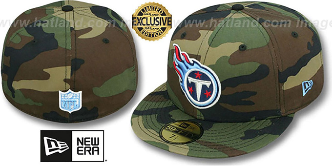 Titans 'NFL TEAM-BASIC' Army Camo Fitted Hat by New Era : pictured without stickers that these products are shipped with