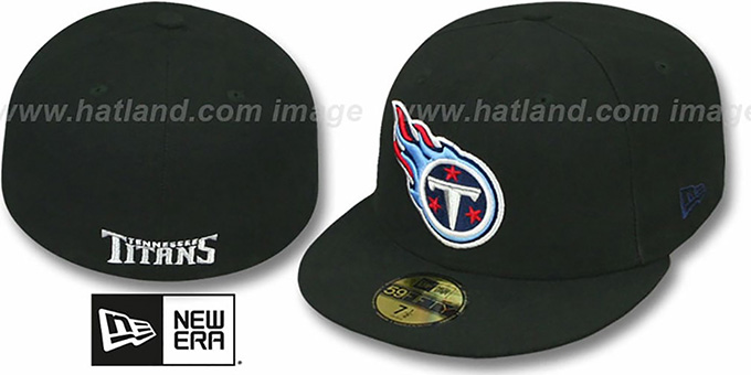 Titans 'NFL TEAM-BASIC' Black Fitted Hat by New Era : pictured without stickers that these products are shipped with