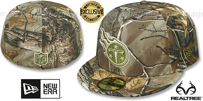 Titans 'NFL TEAM-BASIC' Realtree Camo Fitted Hat by New Era : pictured without stickers that these products are shipped with