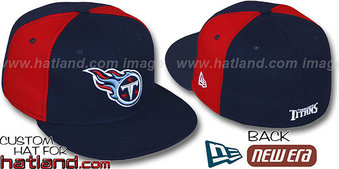 Titans 'PINWHEEL-2' Navy-Red Fitted Hat by New Era : pictured without stickers that these products are shipped with