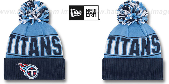 Titans 'REP-UR-TEAM' Knit Beanie Hat by New Era : pictured without stickers that these products are shipped with