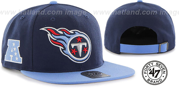 Titans 'SUPER-SHOT STRAPBACK' Navy-Sky Hat by Twins 47 Brand : pictured without stickers that these products are shipped with