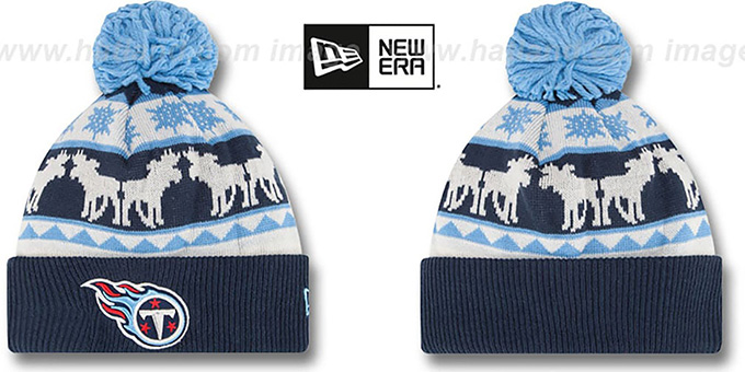 Titans 'THE-MOOSER' Knit Beanie Hat by New Era : pictured without stickers that these products are shipped with
