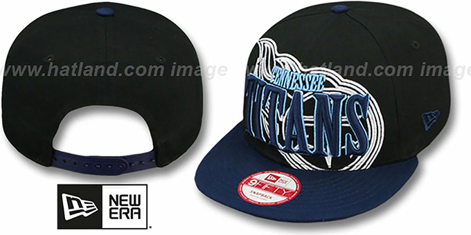 Titans 'THROUGH SNAPBACK' Black-Navy Hat by New Era : pictured without stickers that these products are shipped with