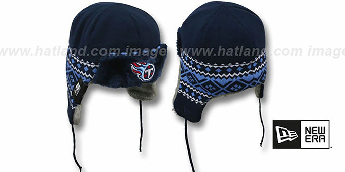 Titans 'TRAPPER' Navy Knit Hat by New Era : pictured without stickers that these products are shipped with
