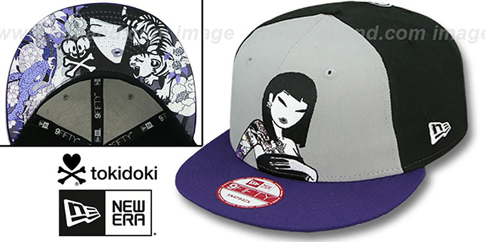 TokiDoki 'LILAC LADY SNAPBACK' Hat by New Era : pictured without stickers that these products are shipped with