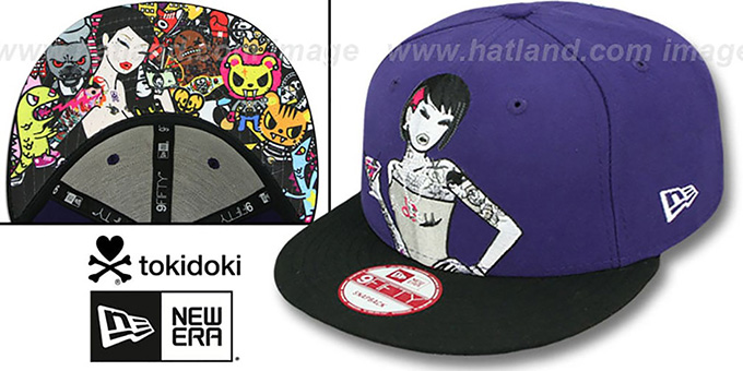 TokiDoki 'HAPPY HOUR SNAPBACK' Hat by New Era : pictured without stickers that these products are shipped with
