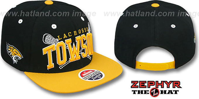 Towson 'LACROSSE SUPER-ARCH SNAPBACK' Black-Gold Hat by Zephyr : pictured without stickers that these products are shipped with