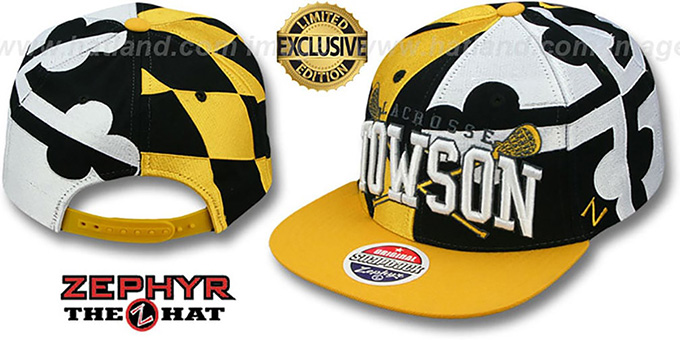 Towson 'LACROSSE SUPER-FLAG SNAPBACK' Hat by Zephyr : pictured without stickers that these products are shipped with
