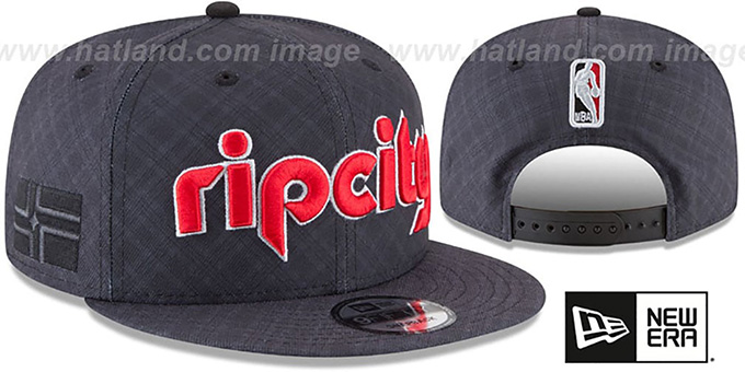 Trail Blazers 'CITY-SERIES SNAPBACK' Charcoal Hat by New Era : pictured without stickers that these products are shipped with