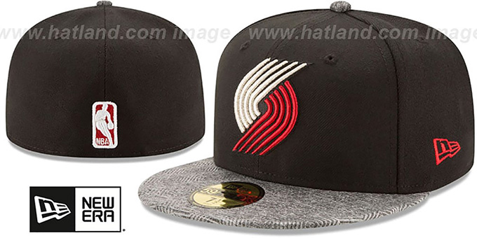 eb0ec8384aec8 Trail Blazers  GRIPPING-VIZE  Black-Grey Fitted Hat by New Era