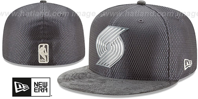 Trailblazers '2017 ONCOURT' Charcoal Fitted Hat by New Era : pictured without stickers that these products are shipped with