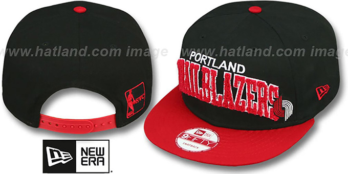 Trailblazers 'CHENILLE-ARCH SNAPBACK' Black-Red Hat by New Era : pictured without stickers that these products are shipped with