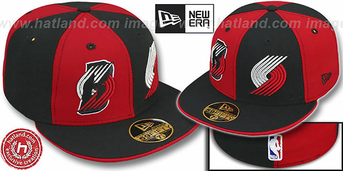 Trailblazers 'DOUBLE WHAMMY' 2 Red-Black Fitted Hat : pictured without stickers that these products are shipped with